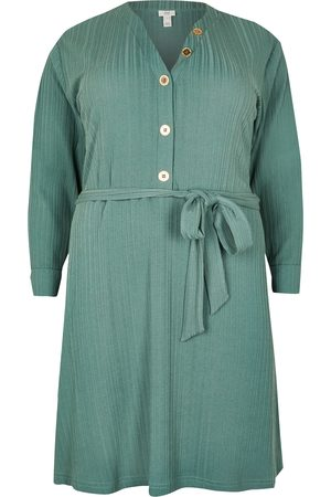 River Island Womens Plus ribbed button front mini dress