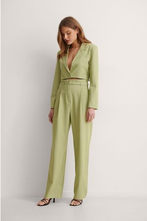 NA-KD Classic Belted Suit Pants - Green