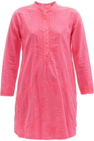 Juliet Dunn Embroidered Cotton Tunic Shirt Dress - Womens