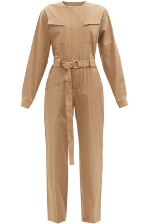 Another Tomorrow Belted Organic Cotton-blend Jumpsuit - Womens