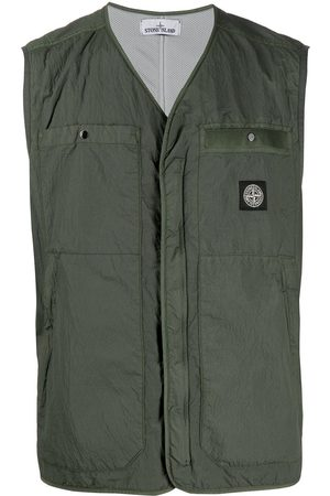 Stone Island Men Body Warmers - Crinkled zip-up gilet