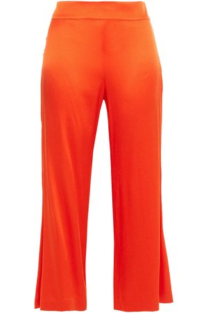 Rodebjer Women Wide Leg Trousers - Woman Gagnes Satin-crepe Kick-flare Pants Bright Size M