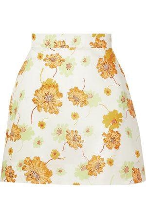 THE VAMPIRE'S WIFE Women Mini Skirts - Woman Frill Seeker Floral-print Cotton Mini Skirt Ecru Size 10