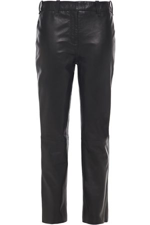 Muubaa Women Leather Trousers - Woman Leather Slim-leg Pants Size 10
