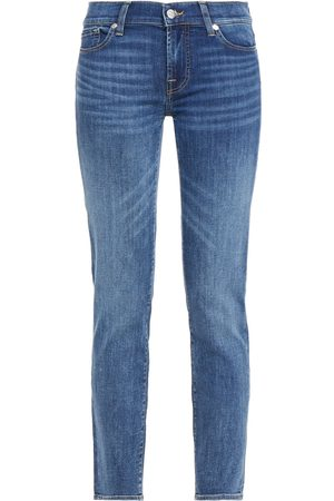 7 for all Mankind Women Slim - Woman Cropped Mid-rise Slim-leg Jeans Mid Denim Size 24