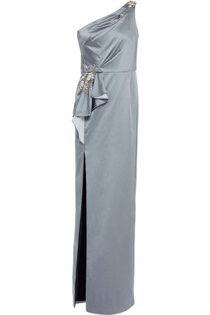 Marchesa Notte Women Evening Dresses - Woman One-shoulder Embellished Pleated Stretch-satin Gown Anthracite Size 0