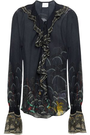 CAMILLA Women Blouses - Woman Metallic-trimmed Ruffled Embellished Printed Silk-crepon Blouse Size S