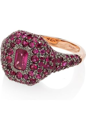 SHAY Women Rings - 18kt rose pavé ruby pinky ring