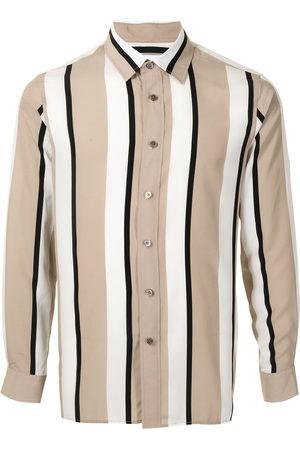 Ports V Vertical stripe print shirt - Neutrals