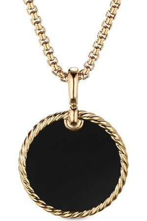 David Yurman 18kt yellow gold DY Elements mother-of-pearl and onyx disc pendant necklace