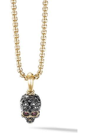 David Yurman 18kt yellow gold diamond pavé Skull amulet
