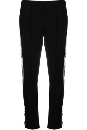 Philipp Plein Crystal-embellished cropped track trousers