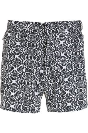 AMIR SLAMA Men Swim Shorts - Striped geometric print shorts