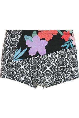 AMIR SLAMA Men Swim Shorts - Striped panels Hibiscus swimming trunks