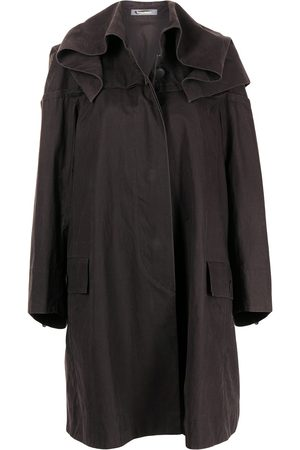 Issey Miyake Women Coats - Gathered neck knee-length coat
