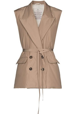 Brunello Cucinelli Double-breasted belted waistcoat - Neutrals