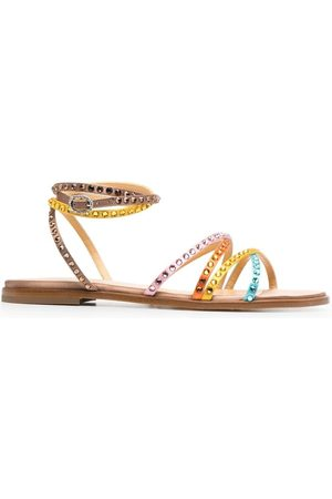 GIANNICO Women Sandals - Crystal-embellished flat sandals