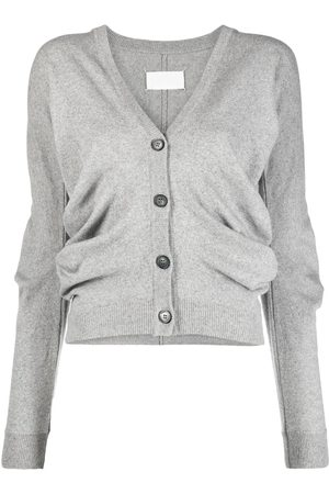 Maison Margiela Women Cardigans - Gathered-detail knitted cardigan