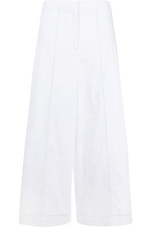 THEORY Women Wide Leg Trousers - Embroidered wide-leg cropped trousers