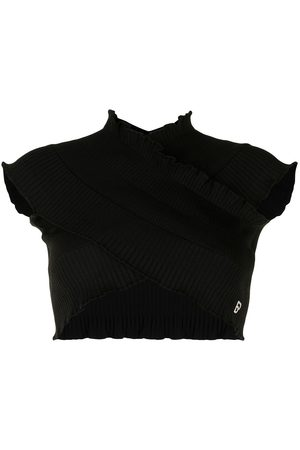 BAPY Ruffle-trim ribbed cropped top