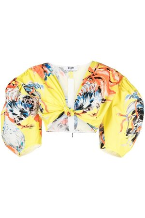 Msgm Women Crop Tops - Rooster-print cropped blouse