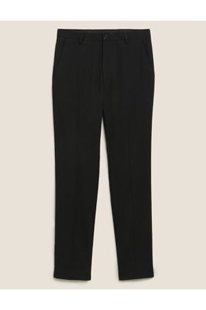 M&S Mens Slim Fit Flat Front Stretch Trousers - 30SHT - , ,Charcoal,Navy