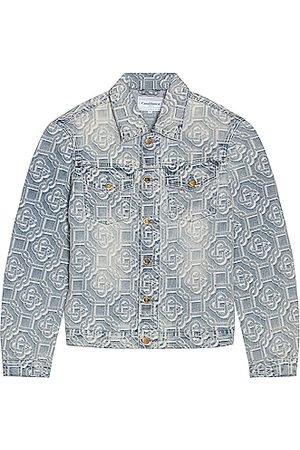 Casablanca Men Denim Jackets - Jacquard Logo Denim Jacket in Sunbleach