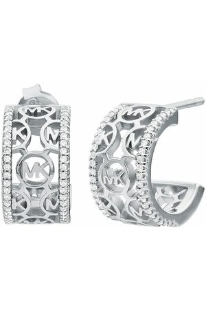 Michael Kors Earrings - Sterling Monogram Logo Huggie Earrings - - Earrings for ladies