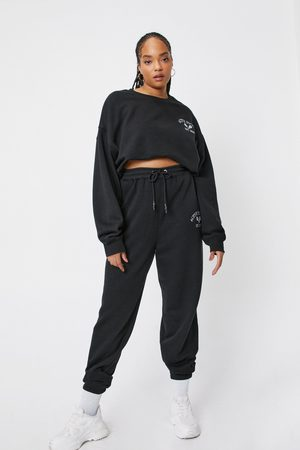 NASTY GAL Womens Plus Size Active Society Embroidered Joggers