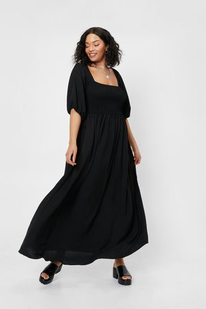 NASTY GAL Womens Plus Size Shirred Tie Back Maxi Dress