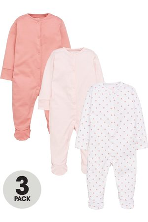Mini V by Very Baby Girls 3 Pack Essentials Sleepsuits