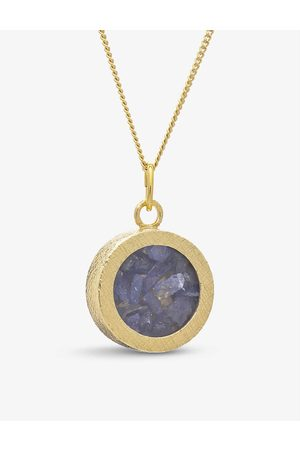 Rachel Jackson Birthstone Amulet December tanzanite and 22ct -plated sterling silver necklace