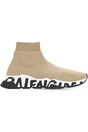 Balenciaga Women Trainers - 30mm Speed Graffiti Knit Sneakers