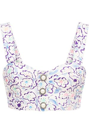 Alessandra Rich Printed Cotton Gabardine Bralette Top