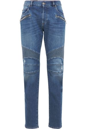 Balmain Ribbed Cotton Denim Tapered Jeans