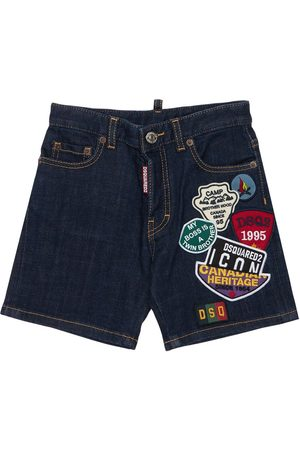 Dsquared2 Stretch Cotton Shorts W/ Patches