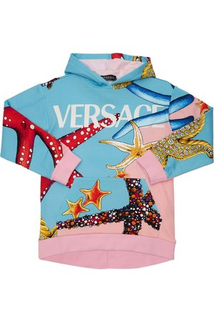 VERSACE Embellished Cotton Sweatshirt Hoodie
