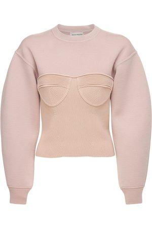 Alexander McQueen Stretch Wool Knit Bustier Sweater