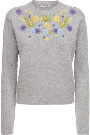 Miu Miu Embroidered Virgin Wool Knit Top