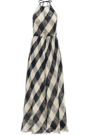 Raey Halterneck Open-weave Checked Cotton Dress - Womens - Navy Multi