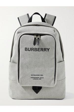 Burberry Men Rucksacks - Logo-Print Leather-Trimmed Canvas Backpack