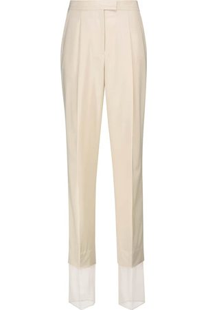 Low Classic Women Formal Trousers - High-rise straight wool-blend pants