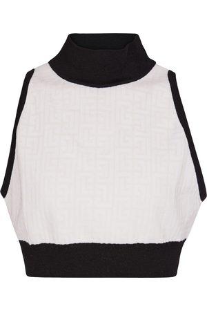 Balmain Women Crop Tops - High-neck wool-blend crop top