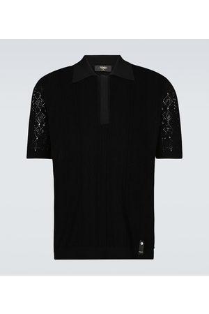 Fendi Men Polo Shirts - Knitted macramé polo shirt