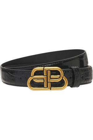 Balenciaga 3cm Bb Croc Embossed Leather Belt