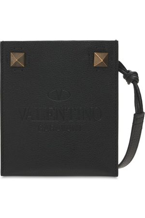 VALENTINO GARAVANI Flat Leather Phone Case W/ Metal Studs