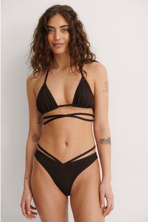 NA-KD Dotted High Cut Strap V Bikini Panty - Brown
