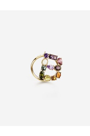 Dolce & Gabbana Jewelry - Rainbow alphabet B ring in yellow with multicolor fine gems female 50