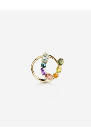 Dolce & Gabbana Women Necklaces - Jewelry - Rainbow alphabet U ring in yellow with multicolor fine gems female 53