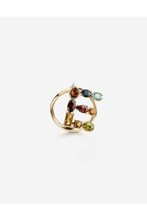 Dolce & Gabbana Jewelry - Rainbow alphabet E ring in yellow with multicolor fine gems female 48